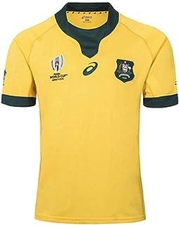 ラグビージャージ2019ジャパンワールドカップオーストラリアワラビーズメンズシャツアスリートウェアプロフェッショナルテクノロジー半袖 (Color : Yellow, Size : L)