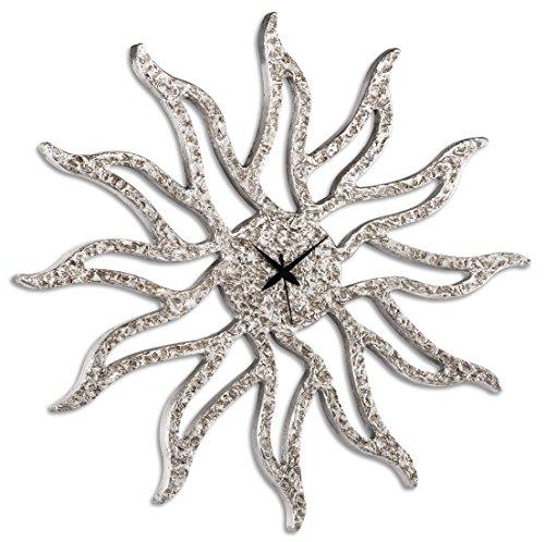 Pintdecor Sunny Horloge, MDF, Argent, 80 x 80 x 4.5 cm