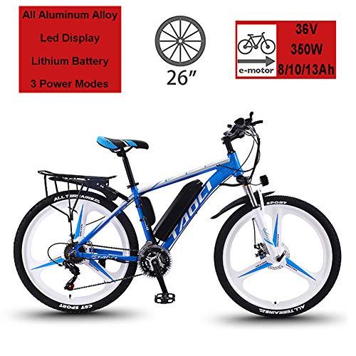 Hyuhome Biciclette elettriche per Adulto, in Lega di magnesio Ebikes Biciclette all Terrain, 26' 36V 350W 13Ah Rimovibile agli ioni di Litio Montagna-Bici per la Mens,Blu,13Ah80Km