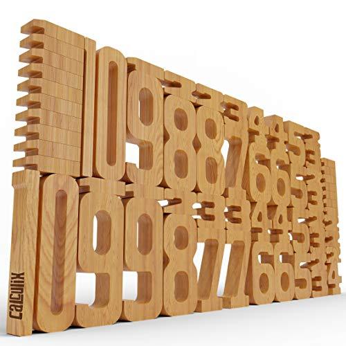 CALCULIX Premium Zahlenbausteine Montessori Spielzeug Made in EU – 61 FSC Holz Bausteine aus massiver Buche...
