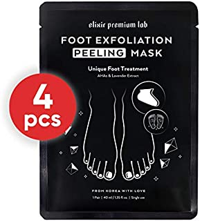Elixir Exfoliating and Moisturizing Foot Mask - Baby Soft Feet Exfoliator for Dry Feet - Soft Touch Peel Off Booties - Best Korean Foot Peel Socks - 4 Pack