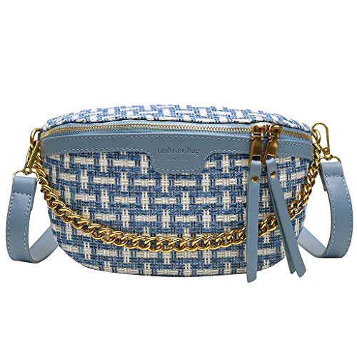 DDKK Women Shoulder Bag,2019 New Purse Fashion Chest Bag Woven Shoulder Bag Messenger Phone Bag Best Gift for Lady Blue