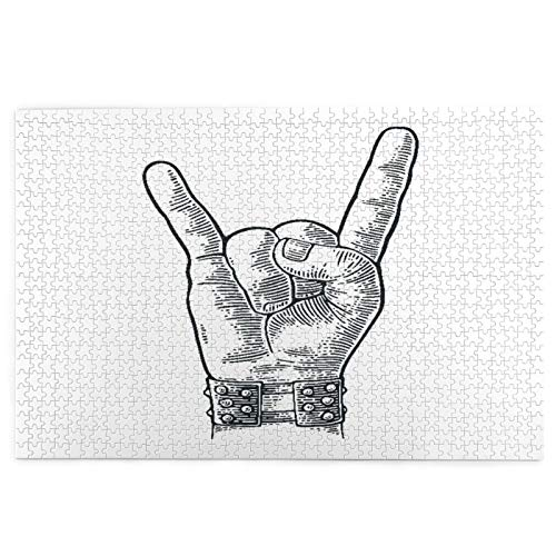 Judascepeda Jigsaw Puzzles 1000 Pieces,Rock And Roll Hand Sign Metal Spiked Bracelet Giving The Devil Horns Gesture,Large Family Puzzle Game Artwork for Adults Teens