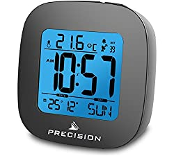 Precision Radio Controlled Clock LCD Digital Display Snooze Function Calender Temperature Function