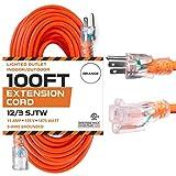 100 Ft Orange Extension Cord - 12/3 SJTW...