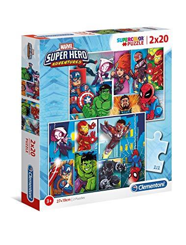 Clementoni- Marvel Super Hero Other Puzzles, 2x20 Piezas, Multicolor (24768)