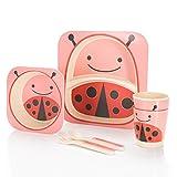 all Kids United Kindergeschirr-Set aus Bambus-Geschirr für Kinder Kindergeschirrset aus Bambus Set 5-teilig; Marienkäfer