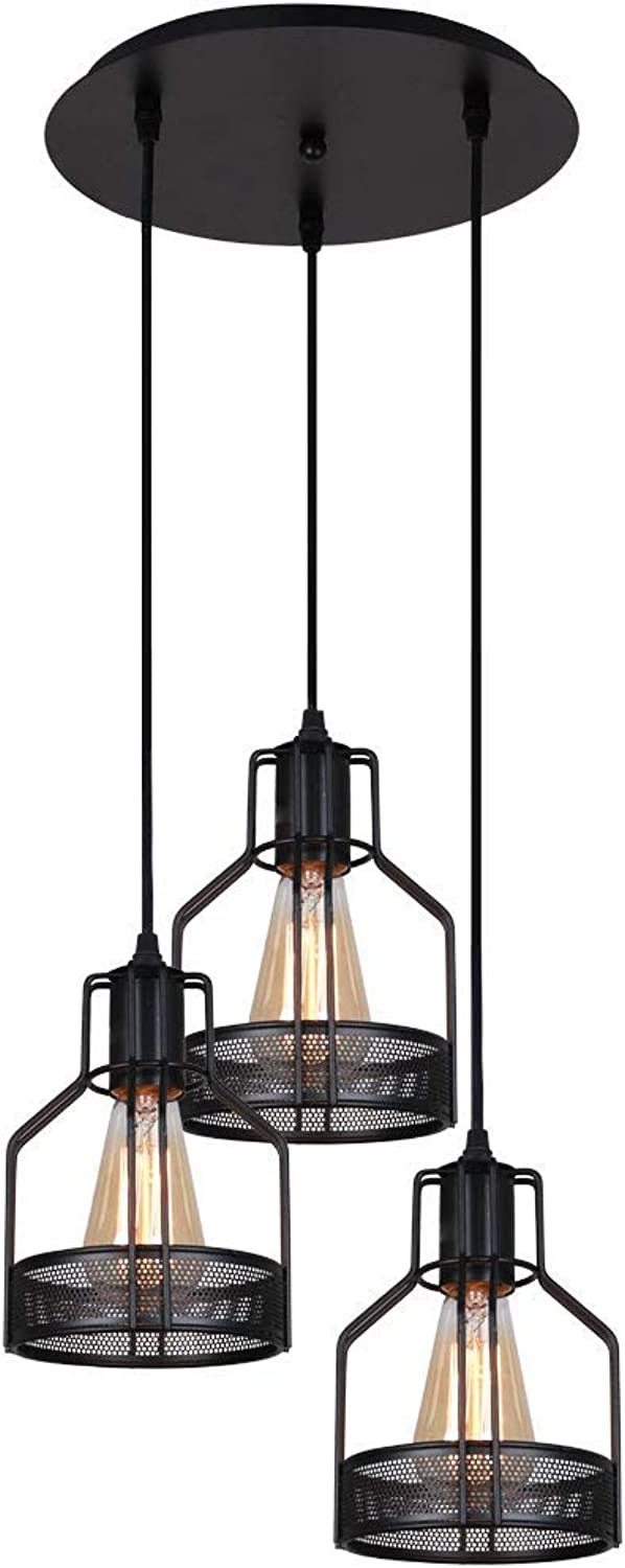 LightingPro 3-Light Vintage Wire Metal Cage Pendant Lights Industrial Kitchen Hanging Lights Rustic Farmhouse Island Lighting Fixtures with Round Base