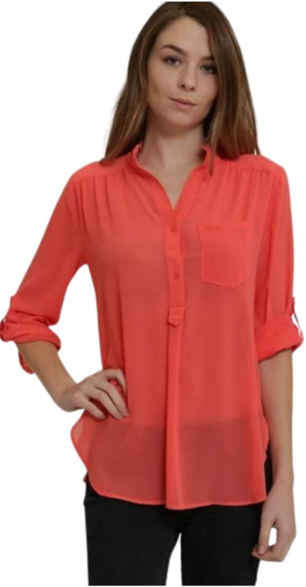 Coral Roll Up Sleeve Button Down Women's Blouse
