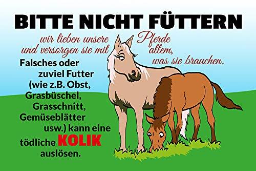 Schatzmix Bitte Nicht füttern! Pferd stall koppel kolik Warnschild blechschild