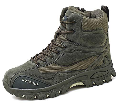 AONEGOLD Botas de Montaña para Hombre Zapatillas de Senderismo Trekking Zapatos al Aire Libre Calzado Antideslizante Botas Ante (Verde,40 EU)