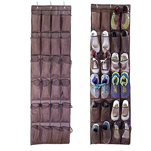 Aufbewahrungsbeutel Schuh Organizer Lagerung 24 Taschen hängen Schuhregale Faltbare Kleiderschränke Tasche mit Haken Regal für Sandalen Hausschuhe Wohnungen für Zuhause (Color : Coffee)