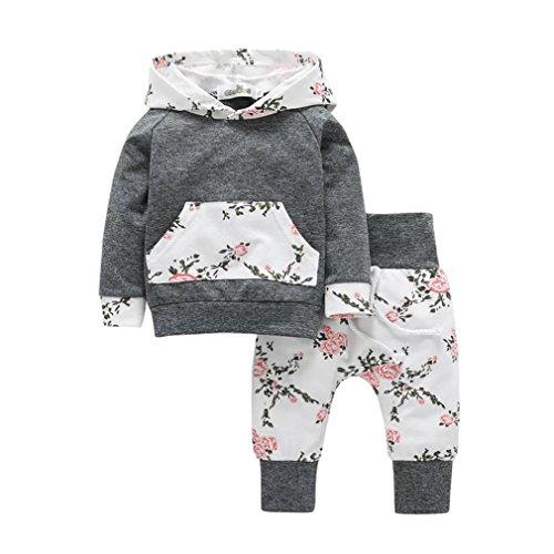 OVERDOSE 2 stücke Neugeborene Kleinkind Baby Mädchen Junge Lange Hülse Kapuzenpullover Tops Floral Hosen Outfits Kleider Set (24 Monate,A-Grau)