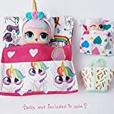 Unicorn doll sleeping bags set- accessories for lol doll and similar size bed set 2 bags in total for doll and lil sis or pets dolls not included in sale