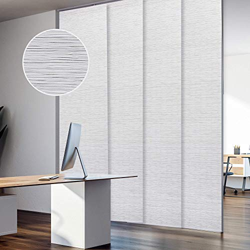 """GoDear Design Deluxe Adjustable Sliding Panel Track Blind 45.8""""- 86"""" W x 96"""" H, Extendable 4-Rail Track, Trimmable Pleated Natural Woven Fabric, Mica"""