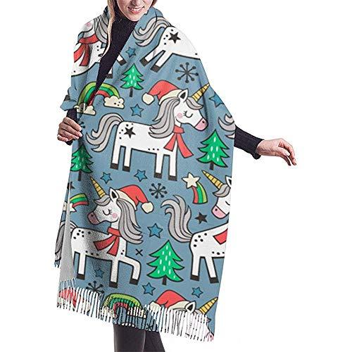 Elaine-Shop Vacanze di Natale Unni-ccorn Rainbow Tree Doodle On Navy Scialle blu scuro Avvolgere Sciarpa calda invernale Sciarpa a mantella in cashmere