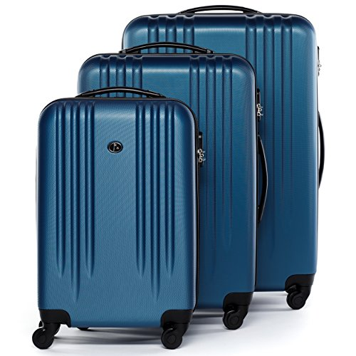 FERGÉ set di 3 valigie viaggio MARSIGLIA - bagaglio rigido dure leggera 3 pezzi valigetta 4 ruote girevole blu