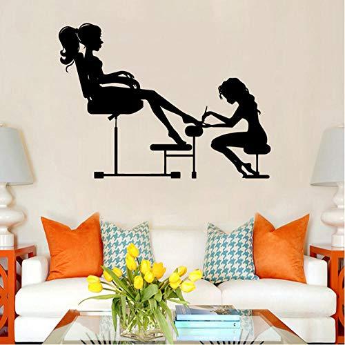 Wall Sticker for Living Room Bedroom Decor Art Home Decoration Beauty Salon For Design Ornament Wall Vinyls Art Decals Woman'S Nail Salon 58x79cm