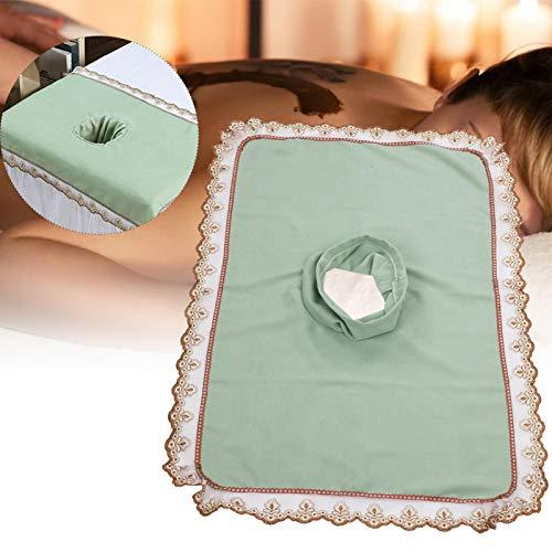 50 * 80 mesa de masaje cabeza, abrigo y cuidado de las pezuñas cepillos hoja de cubierta con orificio Belleza spa cabeza de cama toalla masaje colchón cara acostada [verde]