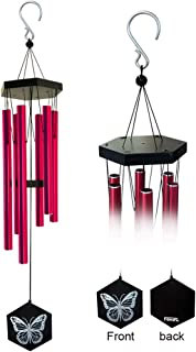 FONMY Wind Chimes Outdoor Amazing Melodic Chimes Nature Bamboo with 6 Aluminum Tubes Quality Decoration for Garden Patio Balcony Home Outdoor Indoor Red Chimes-33 inches Long Worth Gift Wind Chimes
