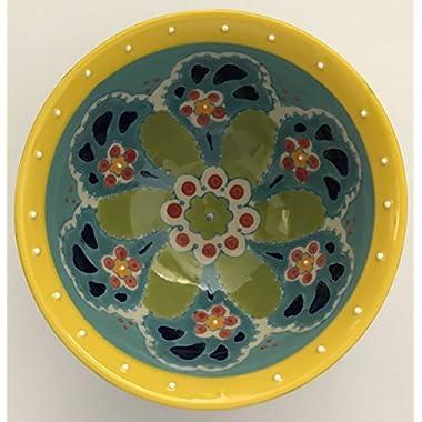 Hand Painted Teal & Yellow Decorative Bowl by Yokohama Studio