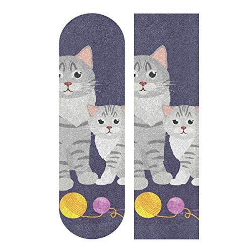 Skateboard-Griptape für Skateboard, Motiv Mutter Katze und Kätzchen, 22,9 x 83,8 cm, Weiß