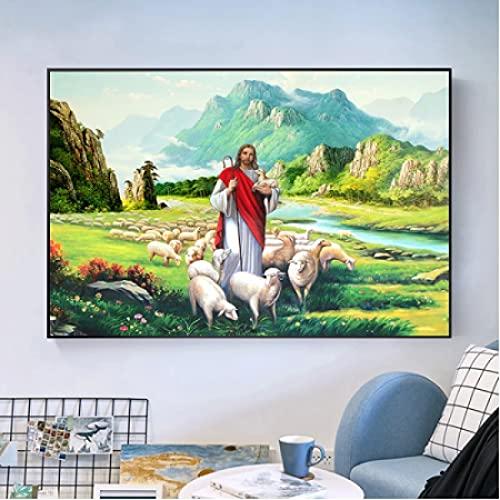 GZCJHP Pintura sobre lienzo 60x90cm sin marco Victoriano pastor religioso Jesús arte decorar la sala de estar familiar. pintura