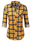 JJ Perfection Women's Roll up Long Sleeve Boyfriend Button Down Plaid Flannel...