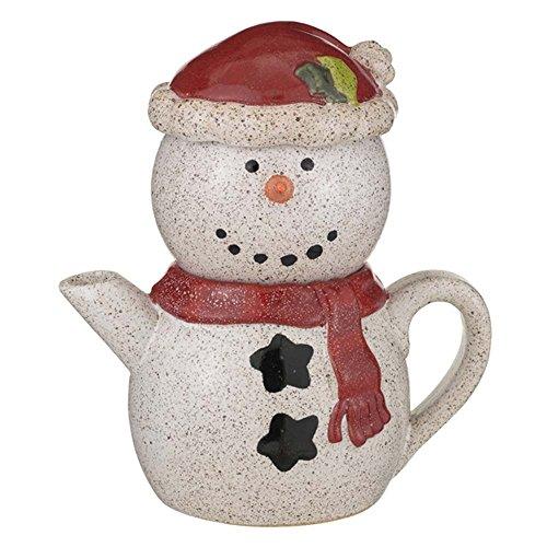 Grasslands Road Pottery Snowman Stackable Tea for One Set (Santa)