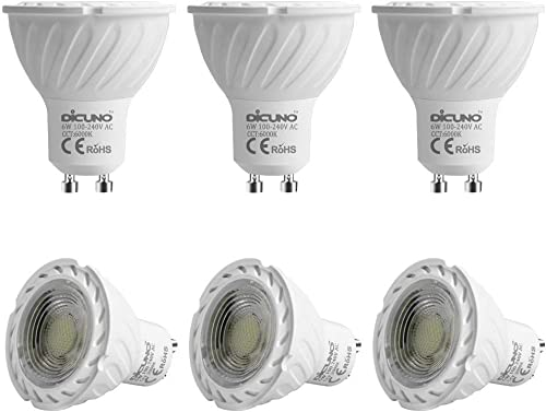 GU10 LED Bulb DiCUNO 6W 600LM 60W Halogen Equivalent Daylight White 6000K AC100-240V Non-dimmable Energy Saving Lamp ...