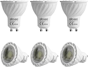 GU10 LED Bulb DiCUNO 6W 600LM 60W Halogen Equivalent Daylight White 6000K AC100-240V Non-dimmable Energy Saving Lamp 6-Pack