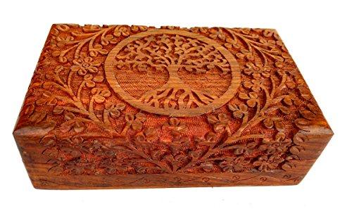 Rastogi - Boîte artisanale en bois finement sculpté, motif arbre de vie, pour bijoux, fabrication artisanale indienne