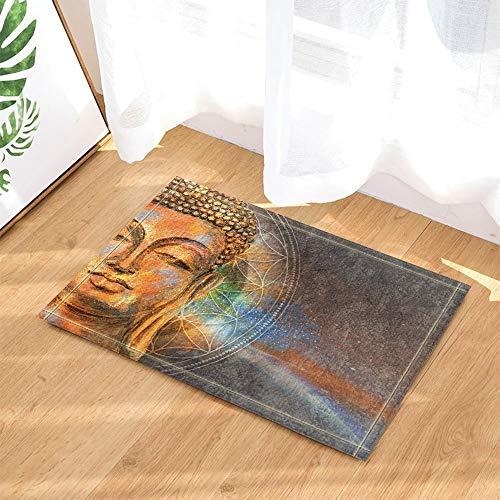 FEIYANG Buda decoración de Arte Acuarela Cabeza de Buda Zen Buda baño Alfombra Antideslizante Puerta Entrada del Piso Entrada Puerta Delantera Interior Alfombra niños baño Alfombra 60X40CM