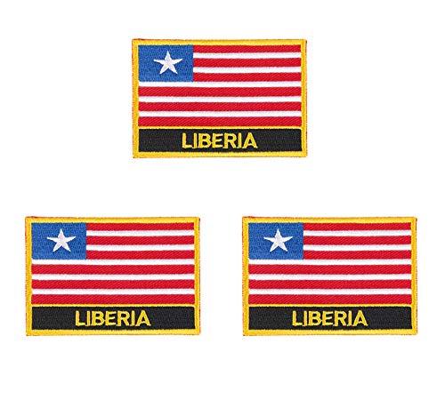 Aufnäher mit Liberia-Flagge, bestickt, zum Aufbügeln oder Aufnähen, 3 Stück