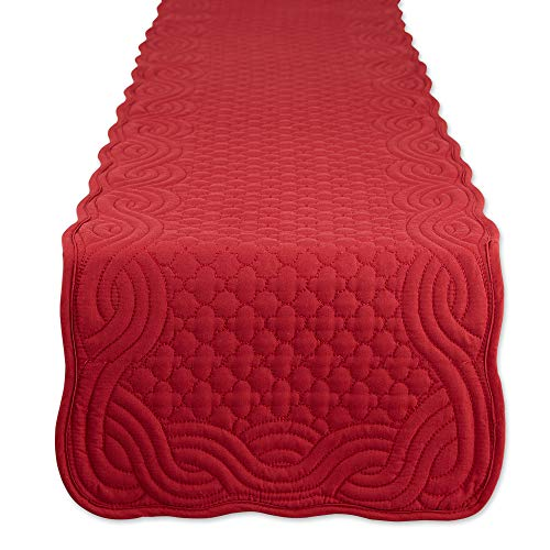 DII Quilted Farmhouse Collection Tabletop, Table Runner, 13x72, Cranberry