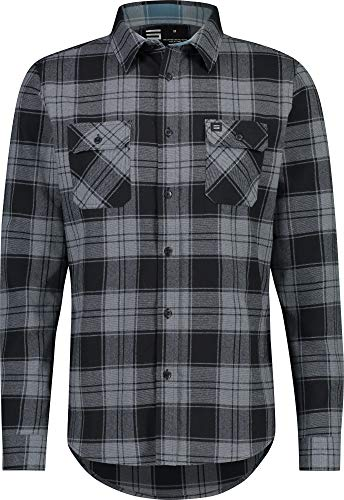 Three Sixty Six Flannel Shirt for Men - Mens Fitted Dry Fit Flannel Work Shirts Charcoal (Black)