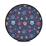 Alfombra redonda Shaggy con diseño de huellas de huellas para niños Sala de juegos antideslizante Alfombra de sala de juegos
