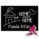 Geschenke 24 Personalisierte Fußmatte mit Namen Bedruckt - Home Sweet Home mit Familienname - Personliches Geschenk für Paare zum Einzug oder Geburtstag
