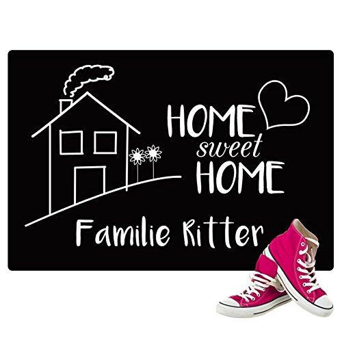 Personalisierte Fußmatte mit Namen Bedruckt - Home Sweet Home mit Familienname - Personliches Geschenk für Paare zum Einzug oder Geburtstag