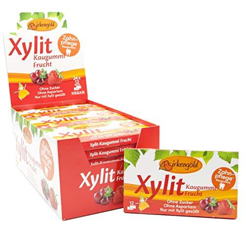 Birkengold Xylit Kaugummi Frucht | 24 Stk. Blister | Zahnpflege-Kaugummi | zuckerfrei | hoher Xylit-Anteil 70 % | vegan | ohne Titandioxid | ohne Aspartam | ohne Zucker