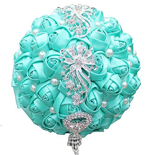 Quibine Bouquet de Mariage Satin Roses Décor Perle Strass Rhinestone pour Mariée Nuptiale Demoiselle d'honneur, Dia: 18cm, Bleu Ciel
