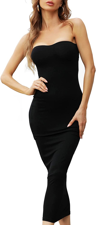 Double Chic Women's Basic Sleeveless Tube Top Sexy Strapless Bodycon Mini Club Dress Sexy Casual Long Dress