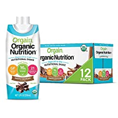 Includes 12 (11 Ounce) ready to drink Orgain Organic Nutrition Smooth Chocolate Vegan All In One Nutritional Shakes 16 grams of organic plant based clean protein (pea, chia seeds), 2 grams of organic dietary fiber, 21 vitamins and minerals, 10 fruits...