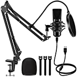 InnoGear USB Microphone, 192KHZ/24BIT Plug & Play PC Computer Professional Cardioid Mic for Mac Windows Vista, 7, 8.1, or 10 System with Mic Stand Shock Mount Pop Filter USB Cable