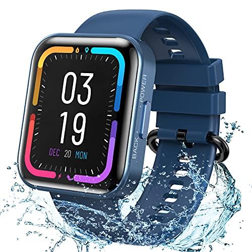 KOSPET Smartwatch, Fitness Tracker Armbanduhr mit Blutdruckmessung Pulsuhr Schlafmonitor, IP68 Wasserdicht Sportuhr mit Schrittzähler Stoppuhr Smart Watch für Herren Damen