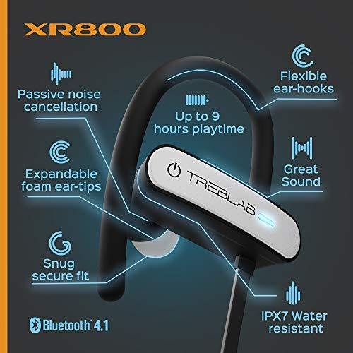TREBLAB XR800 Bluetooth Headphones, Best Wireless Earbuds For Sports, Running Or Gym Workouts. 2018 Best Model. IPX7 Waterproof, Sweatproof, Secure-Fit. Noise-Cancelling Earphones w/ Mic (White) 7