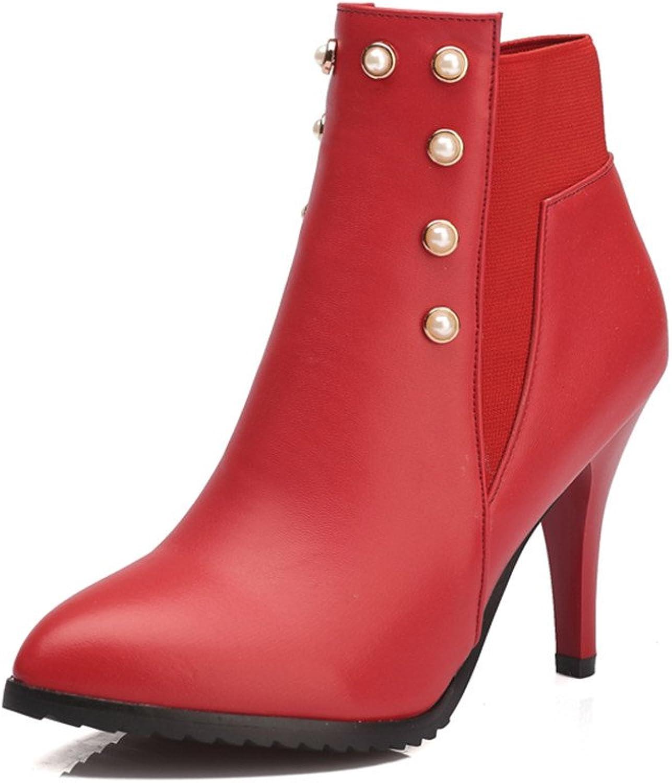 Fashion Heel Womens Stiletto Heel Pointed Toe Handmade Studded Ankle Boot