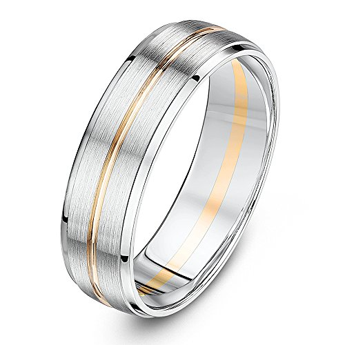 Theia 9ct White Gold and Rose Gold Centre Inlay Court Shape Matt Centre 6mm Wedding Ring - Size W