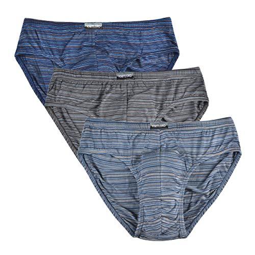 Knitlord Herren Bambus Slips, weich, leicht, niedrig sitzend, Multipack Unterwäsche, 3er-Pack - Mehrfarbig - L
