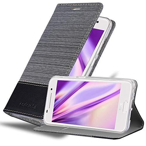 Cadorabo Hülle für HTC ONE A9 in GRAU SCHWARZ - Handyhülle mit Magnetverschluss, Standfunktion & Kartenfach - Hülle Cover Schutzhülle Etui Tasche Book Klapp Style